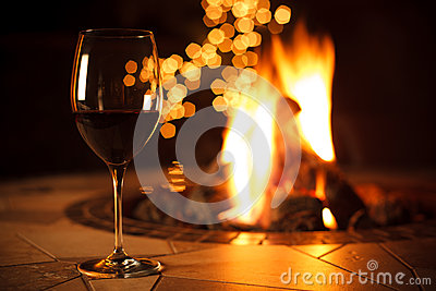 Fireside with a Glass of Wine