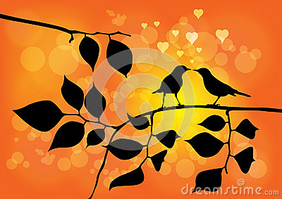 Love Birds on a Tree with Sunset Vector