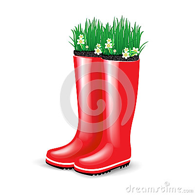Red rubber boots with grass and flowers