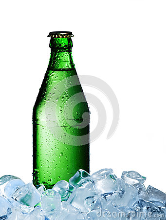 A bottle of mineral water with ice