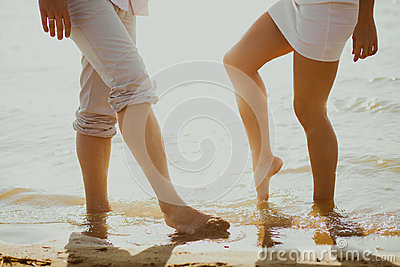 Lovers couple in sea