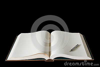 Large open spread book and fountain pen isolated o