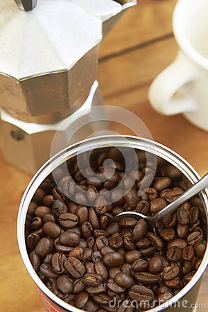 Overhead View Of Coffee Beans, Cafetiere And Mug