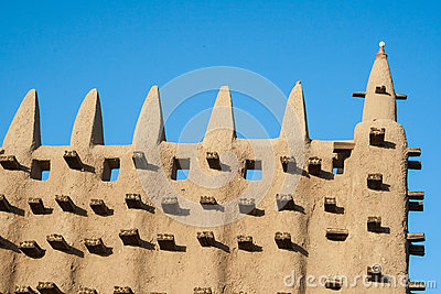 Detail of the Great Mosque of Djenne, Mali.