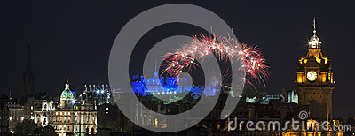 Panoramic vew on Edinburgh castle with fireworks