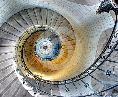 Upside view of a spiral staircase