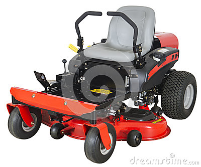 Zero Turn Riding Lawn Mower Isolated on White