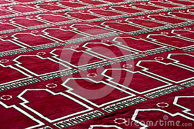 Red Islamic praying Carpet In pattern