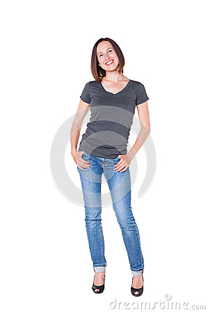Beautiful young woman in jeans and tshirt