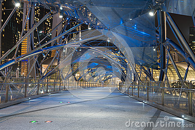 Modern empty futuristic bridge at night