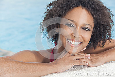 African American Woman Girl In Swimming Pool