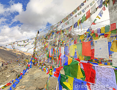 String of colorful buddhist prayer flags