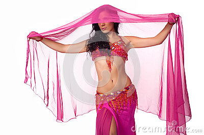 Belly dancer wrapped in a hot pink veil