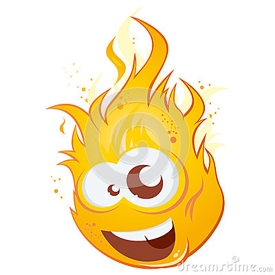 Illustration of a funny cartoon flame