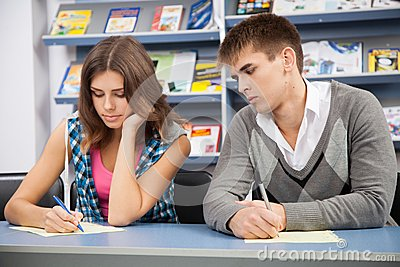Student cheating at test exam