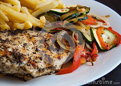 Grill chicken breast with vegetables