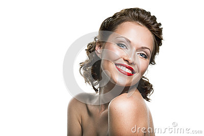 Face of a beautiful happy brunette woman