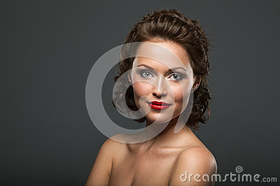 Face of a beautiful sexy brunette woman