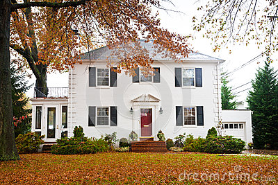 White Home With a Red Door