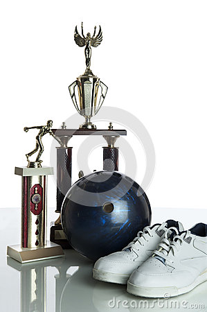 Bowling ball, shoes and tropies