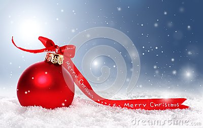 Christmas background with bauble, snow and