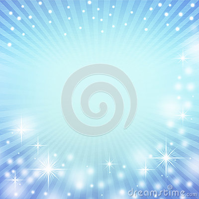 Blue abstract christmas background and decorative white lights