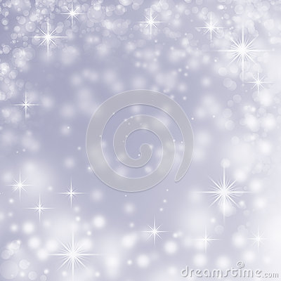 White christmas lights on blue abstract background