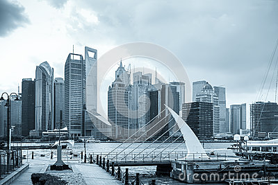 Shanghai skyline with pier