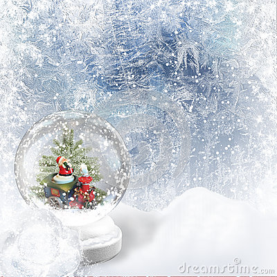 Christmas Snow globe on the frost background