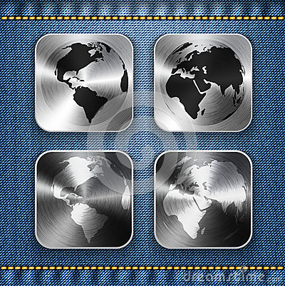 Globe and world map on brushed metal app icons