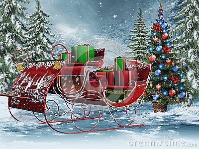 Vintage sleigh with gifts