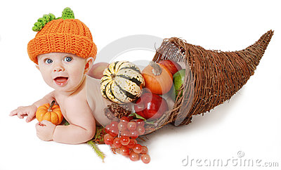 Fall Thanksgiving Baby in a Cornucopia