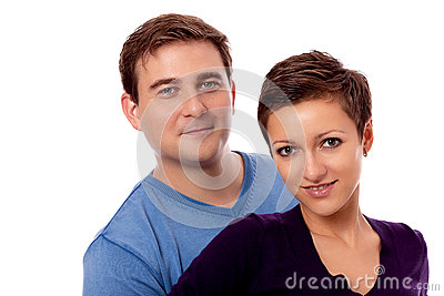 Young happy couple smiling in love isolated