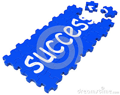 Success Puzzle Shows Accomplishment