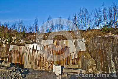 Granite wall in a quarry
