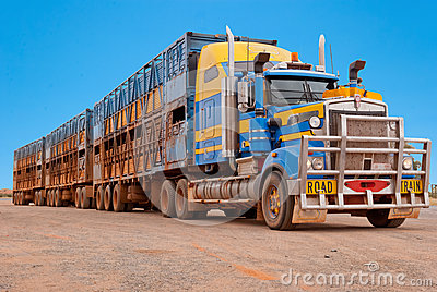 Road train in the Australian outback