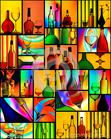 stock image of alcoholic drinks wine glass collage