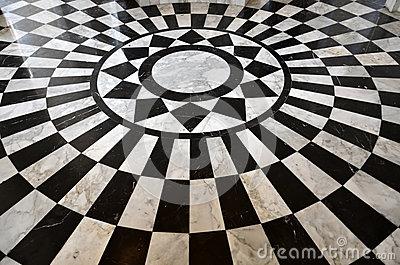 Black and white marble floor pattern