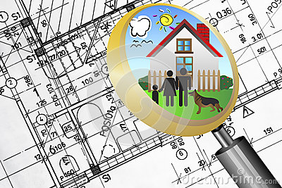 Architectural plan blueprint real estate business concept with magnifying glass lens happy family