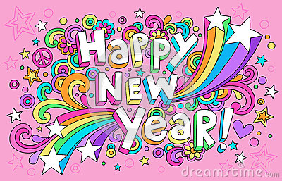 Happy New Year Groovy Notebook Doodles Vector