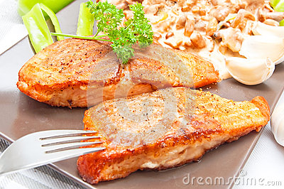 Grilled salmon food