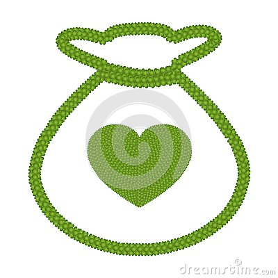 Green Four Leaf Clover of Heart in Money Bag Icon