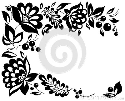 Black And White Flowers And Leaves Floral Design Element In Retro Style