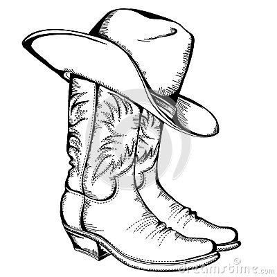 Cowboy boots and hat.