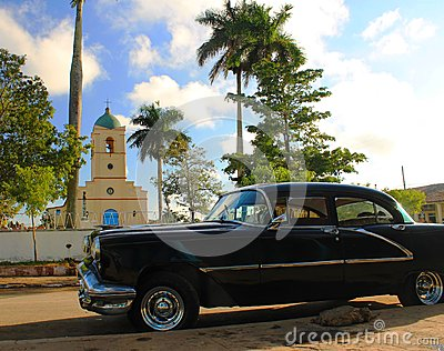 Town square Vinales with old american car