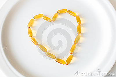 Omega 3 pills in a shape of heart