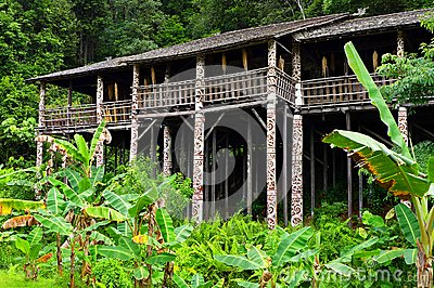 stock image of borneo sarawak tribal longhouse architecture