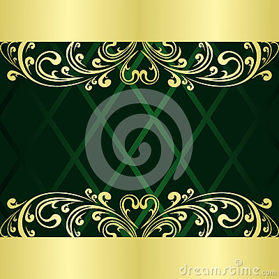 Rifle Green Background Decorated A Gold Border