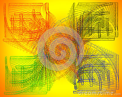 Aimless-color abstract composition with a colored strokes on a y