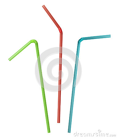 Colorful drink straw collection clipping path